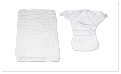 Diaper Rite Prefold with Bummis Super Whisper Wrap