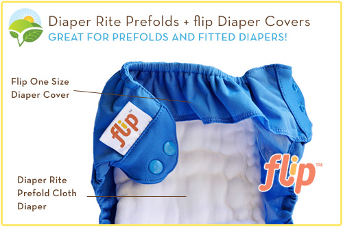 Flip Diaper Covers with a Diaper Rite Prefold