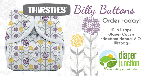New 'Billy Buttons' print from Thirsties is now in-stock!