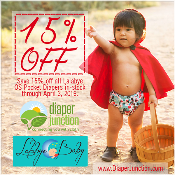 Lalabye Baby Sale!  Save 15% off One Size Diapers through 4/3