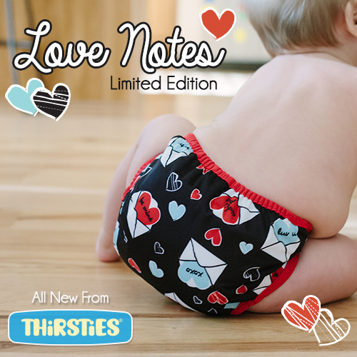 Thirsties Love Notes print is sure to be a Valentine's Day favorite!