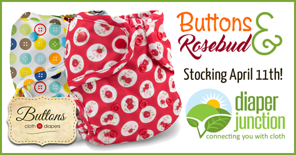 Buttons and Rosebud from Buttons Diapers stock Monday April 11th!