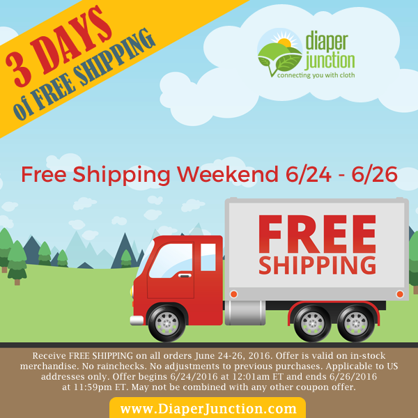 FREE SHIPPING WEEKEND - June 24-26, 2016