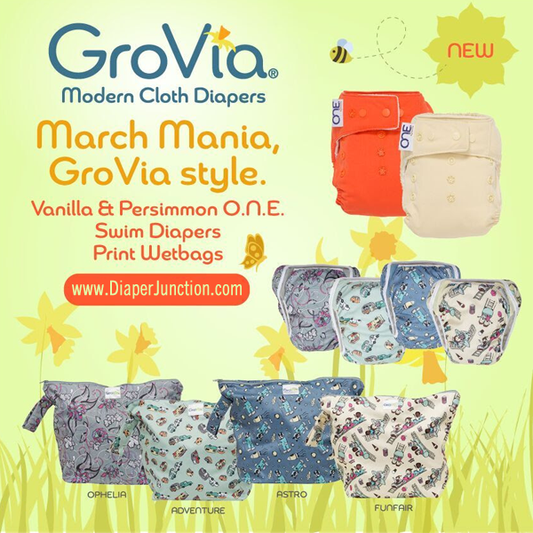 GroVia Swim Diapers, New O.N.E. Colors and Zippered Wetbags have stocked!