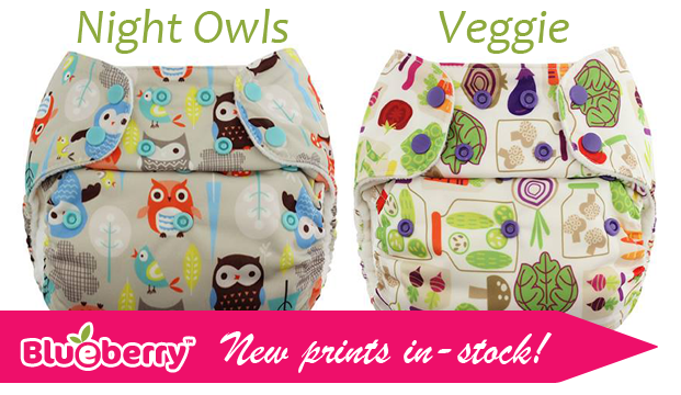Meet Night Owls and Veggie, new prints from Blueberry Diapers!